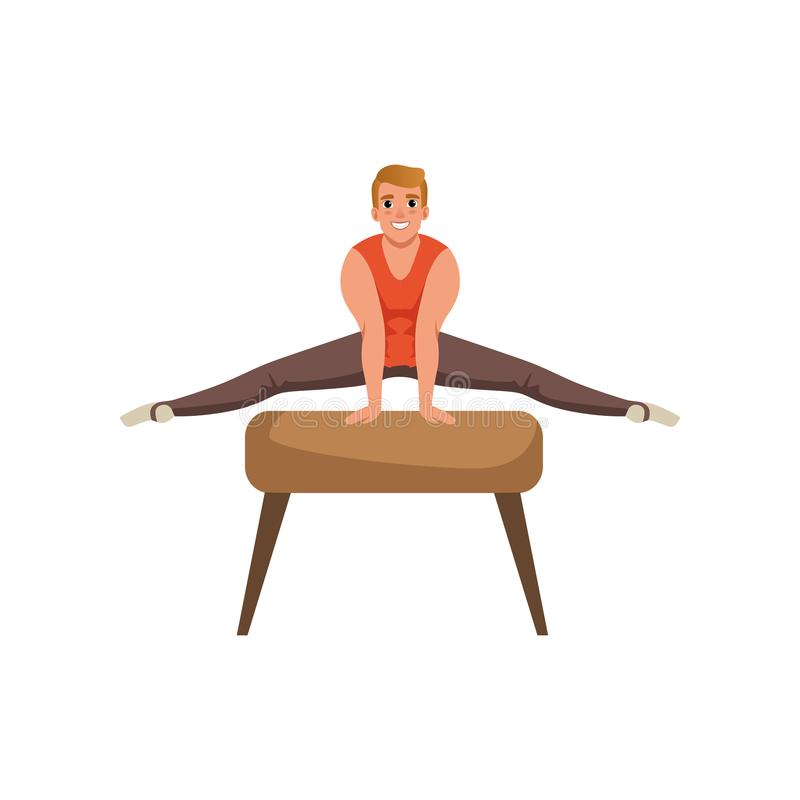 Male gymnast doing exercise on pommel horse. Cartoon strong guy. Gymnastics artistic. Professional athlete in sportswear royalty free illustration