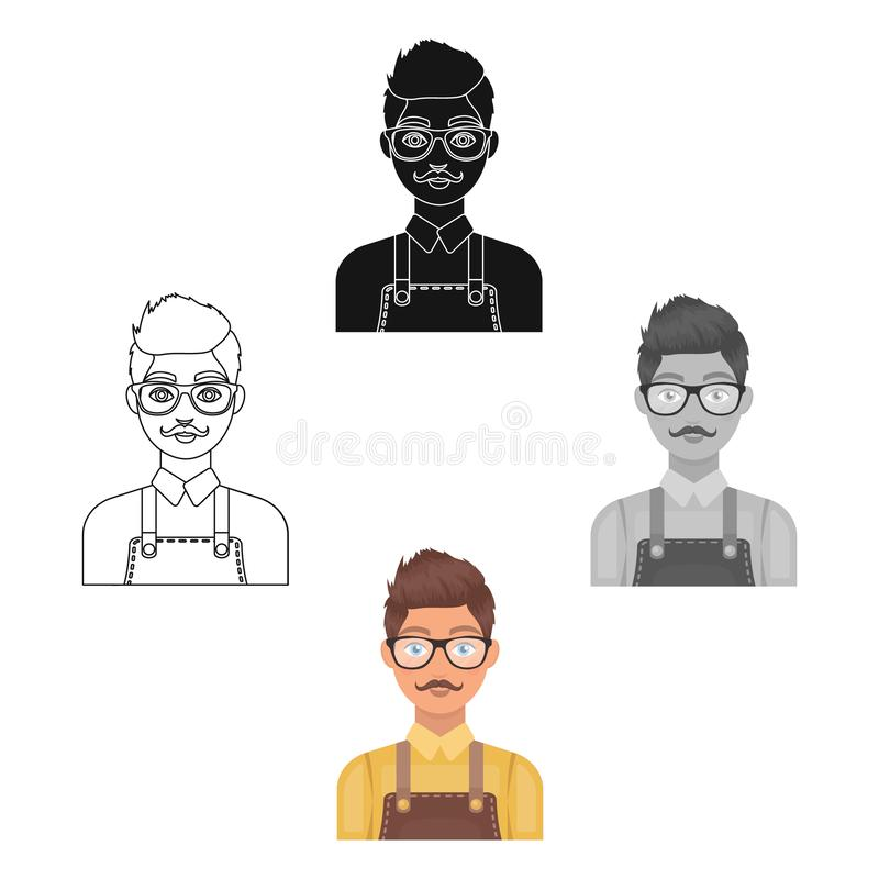 Male hairdresser.Barbershop single icon in cartoon,black style vector symbol stock illustration web. vector illustration