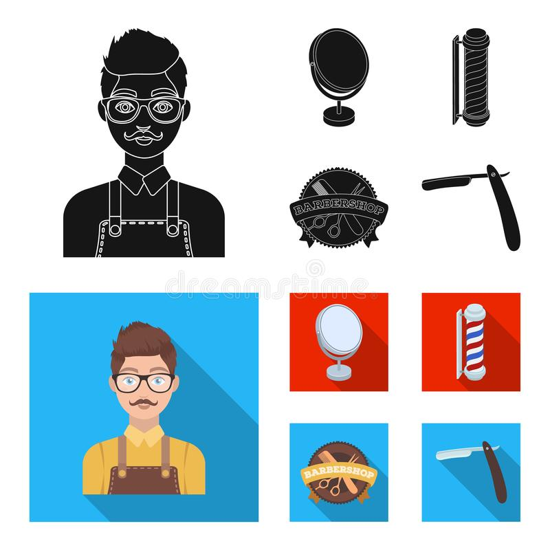 Male hairdresser, sign, mirror and other equipment for a hairdresser.Barbershop set collection icons in black, flat. Style vector symbol stock illustration stock illustration