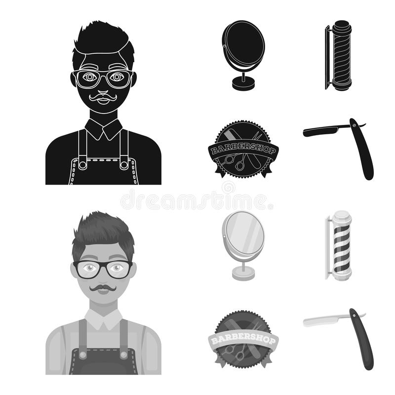 Male hairdresser, sign, mirror and other equipment for a hairdresser.Barbershop set collection icons in black,monochrom stock illustration