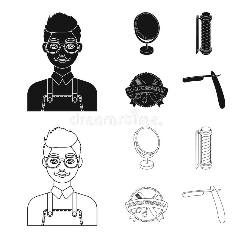 Male hairdresser, sign, mirror and other equipment for a hairdresser.Barbershop set collection icons in black,outline vector illustration