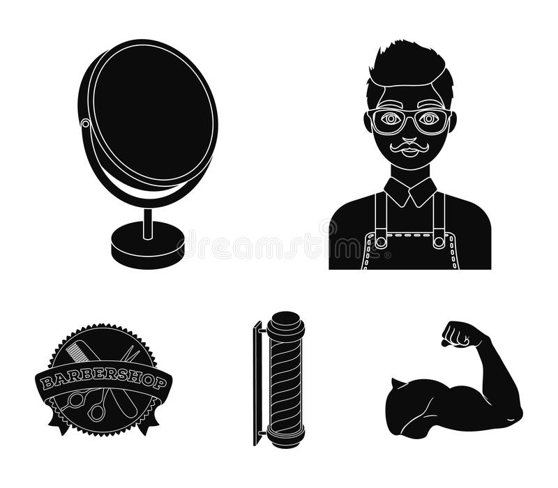 Male hairdresser, sign, mirror and other equipment for a hairdresser.Barbershop set collection icons in black style. Vector symbol stock illustration royalty free illustration