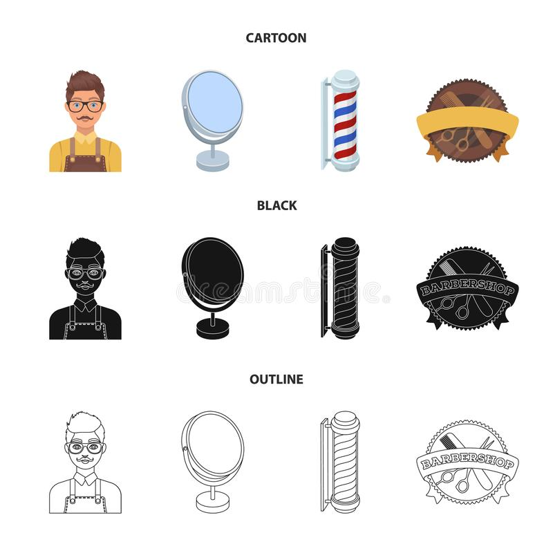 Male hairdresser, sign, mirror and other equipment for a hairdresser.Barbershop set collection icons in cartoon,black. Outline style vector symbol stock royalty free illustration
