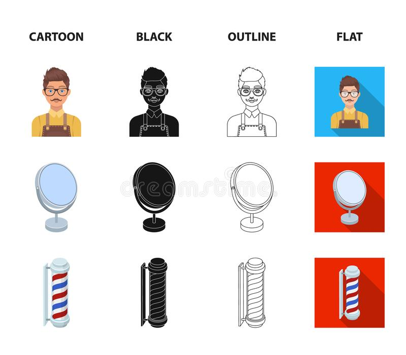 Male hairdresser, sign, mirror and other equipment for a hairdresser.Barbershop set collection icons in cartoon,black. Outline,flat style vector symbol stock royalty free illustration