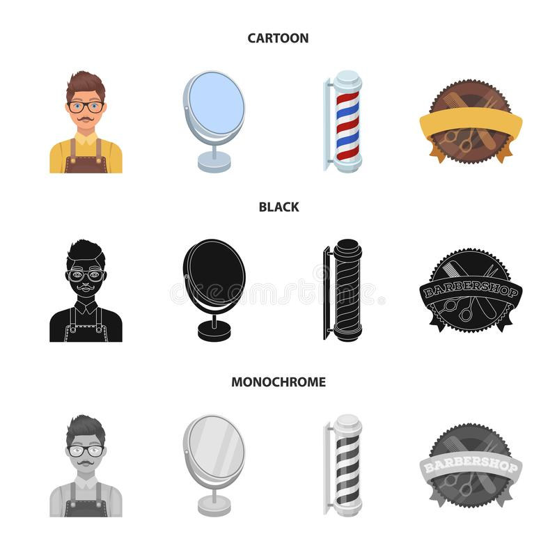 Male hairdresser, sign, mirror and other equipment for a hairdresser.Barbershop set collection icons in cartoon,black. Monochrome style vector symbol stock stock illustration