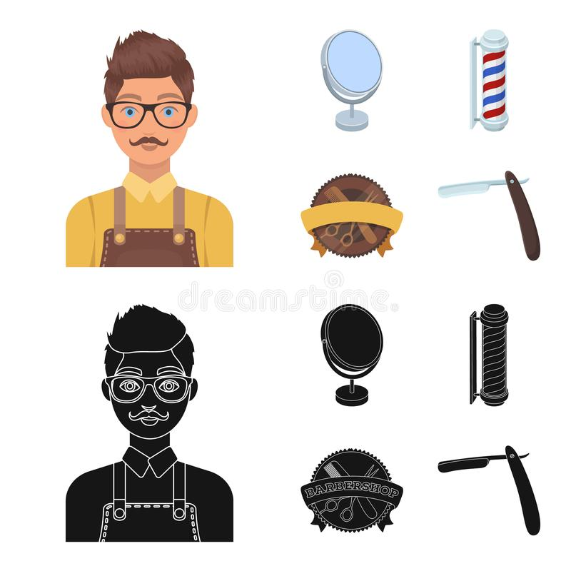 Male hairdresser, sign, mirror and other equipment for a hairdresser.Barbershop set collection icons in cartoon,black. Style vector symbol stock illustration royalty free illustration