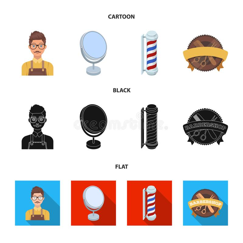 Male hairdresser, sign, mirror and other equipment for a hairdresser.Barbershop set collection icons in cartoon,black. Flat style vector symbol stock vector illustration