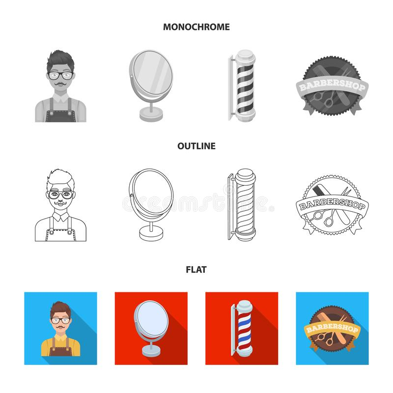 Male hairdresser, sign, mirror and other equipment for a hairdresser.Barbershop set collection icons in flat,outline stock illustration