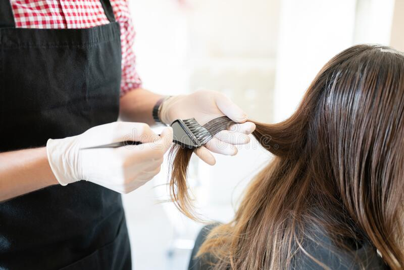 Hairdresser Dyeing Hair Of Female Client. Male hairstylist applying dye on hair of female customer at beauty salon royalty free stock images