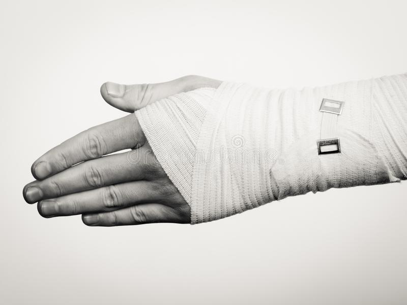 Male hand in bandage. stock photo