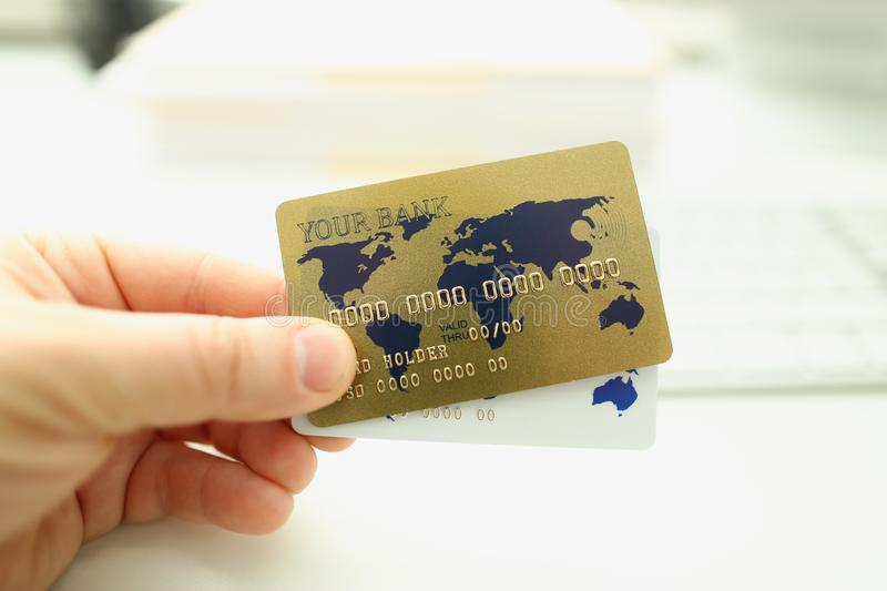 Male hand businessman hold white plastic card royalty free stock image