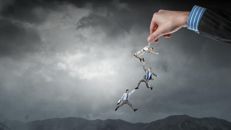 Hand of help and protection . Mixed media royalty free stock images