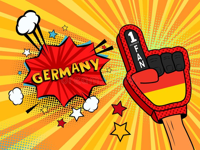 Male hand in the country flag glove of a sports fan raised up celebrating win and Germany speech bubble with stars and clouds. Vec stock illustration
