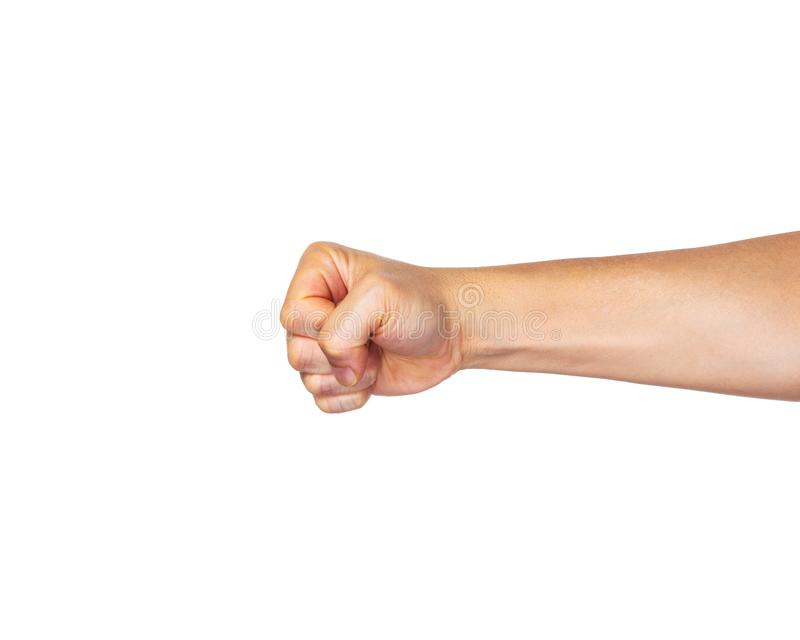 Male hand in fist punching straight out on white background stock photography