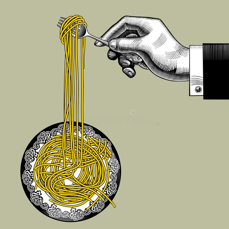 Male hand with a fork takes long spaghetti from a round plate vector illustration
