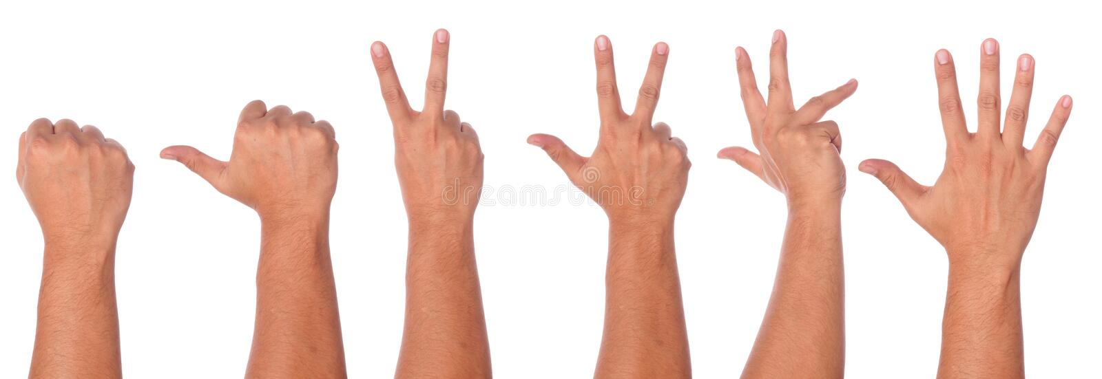 Male hand gesture and sign collection royalty free stock photo