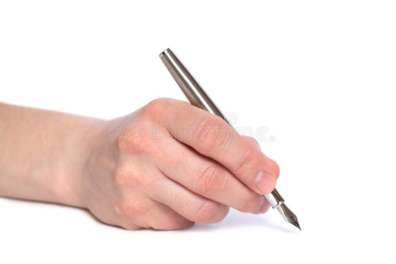 Male hand hold metall Feather pen.  on white background. Copy space, template. Side view. Conclusion of a contract. Conception stock photo