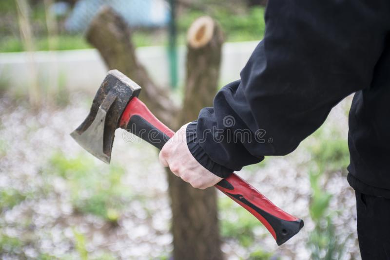Male hand holding an axe stuck in a wooden pencil case. Man is chopping wood with axe. A man with an ax in his hand royalty free stock photo