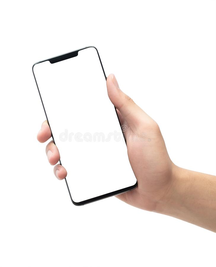 Male hand holding the black smartphone with blank screen isolated on white background with clipping path. stock photography