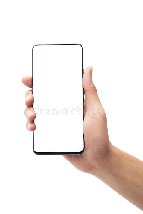 Male hand holding the black smartphone with blank screen isolated on white background with clipping path. stock photo