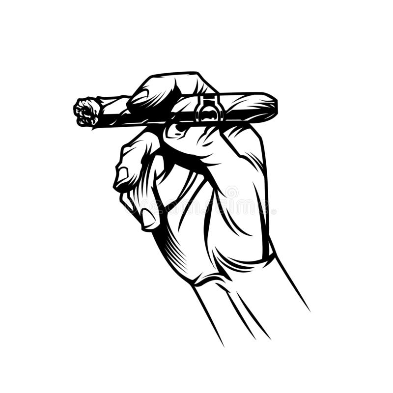 Male hand holding burning cuban cigar. In vintage monochrome style isolated vector illustration royalty free illustration