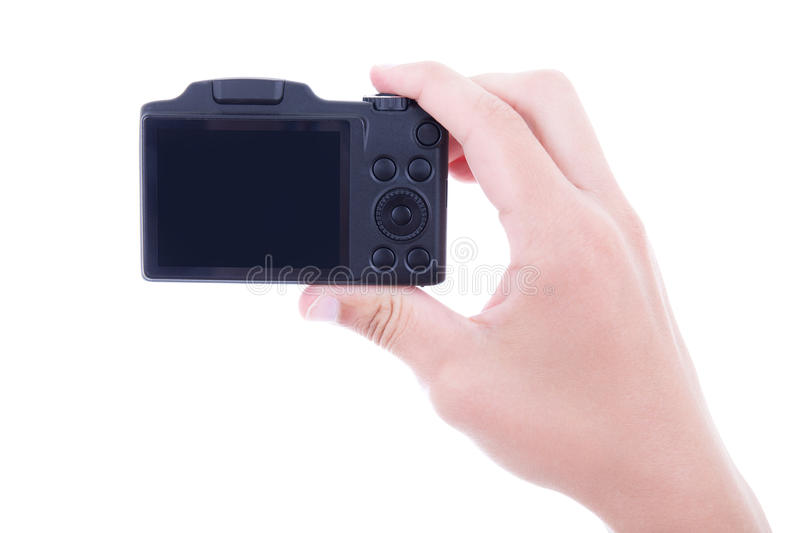 Male hand holding compact digital camera with blank screen isola stock images