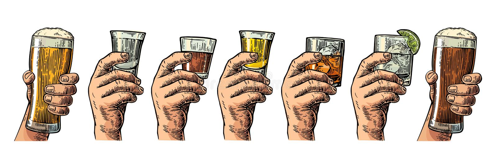 Male hand holding a glass with beer, tequila, vodka, rum, whiskey and ice cubes. stock illustration