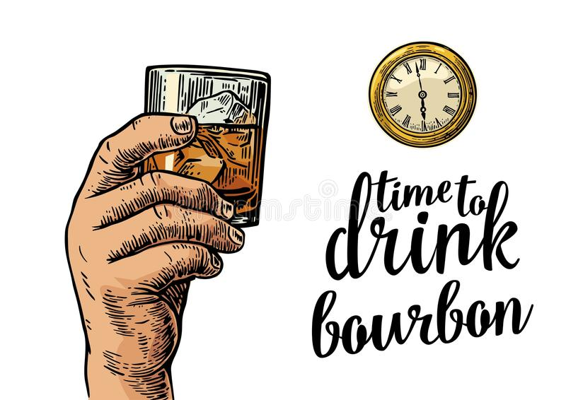 Male hand holding glass bourbon and antique pocket watch. Vintage vector engraving illustration for web, poster, invitation to party. Time to Drink lettering stock illustration