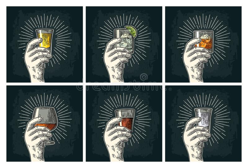Male hand holding glass brandy, tequila, gin, vodka, rum, whiskey. stock illustration