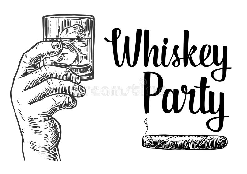 Male hand holding a glass with whiskey and ice cubes. Hand drawn design element. Vintage vector engraving illustration for label,. Poster, invitation to a party vector illustration