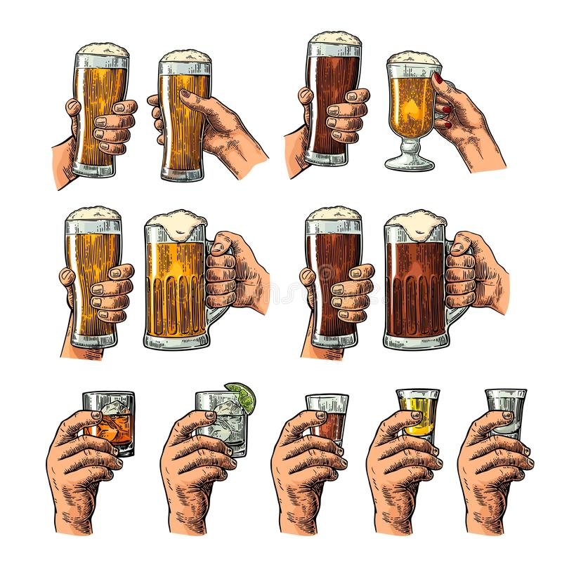 Male hand holding a glasses with beer, tequila, vodka, rum, whiskey and ice cubes. royalty free illustration