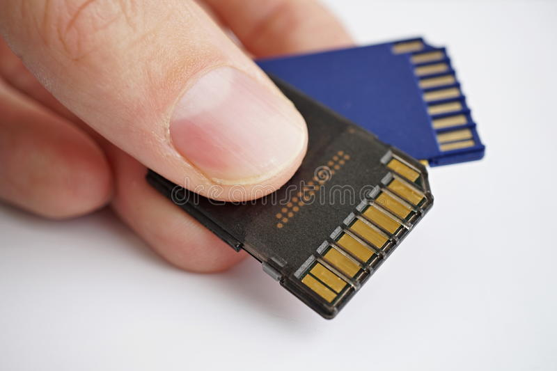Download Male Hand Holding Isolated Plastic Blue And Black Compact Memory Cards SD Card - Secure Digital Card Used In Cameras Stock Image - Image of camera, drive: 82865995