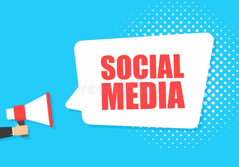 Male hand holding megaphone with social media speech bubble. Loudspeaker. Banner for business, marketing and advertising royalty free illustration