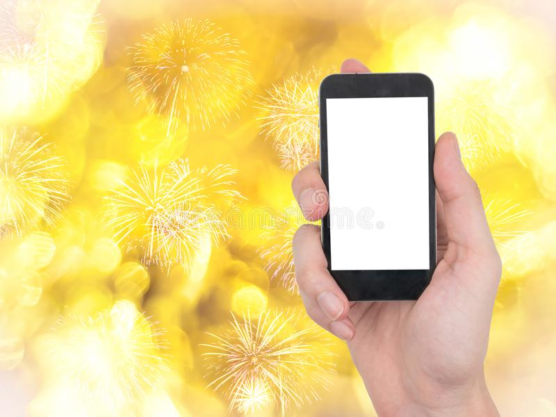 Male hand holding mobile phone with touch blank white screen on royalty free stock photos
