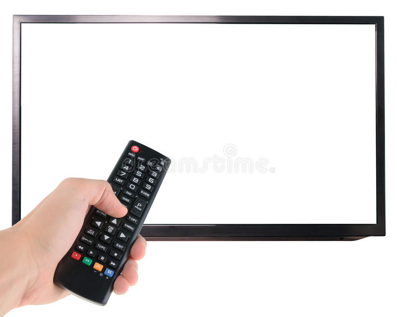 Male hand holding remote control to the TV screen isolated on white stock photo