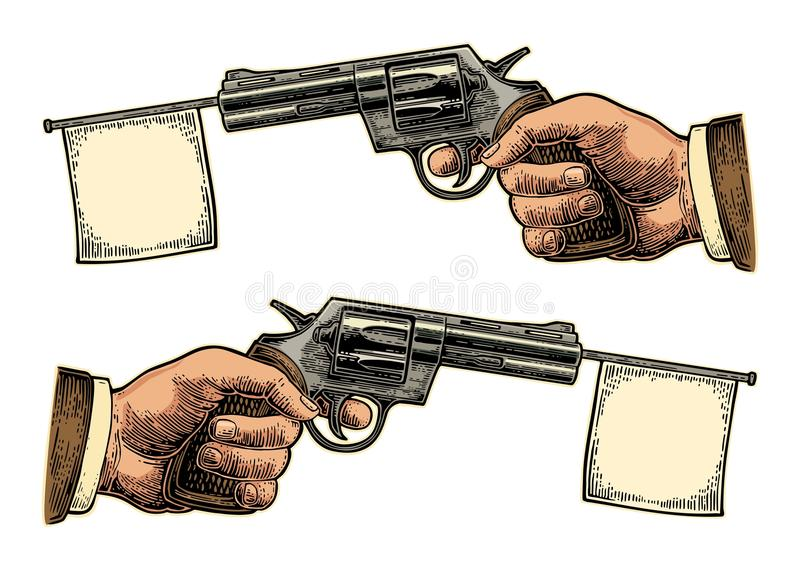 Male hand holding revolver with flag for text. Vector engraving vintage illustrations. Isolated on white background. For tattoo, web, shooting club and label stock illustration