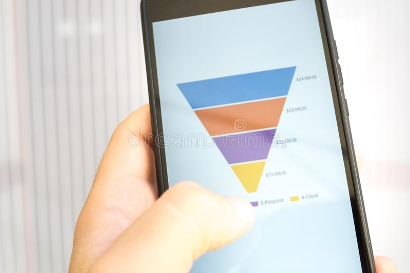 Male hand holding a smart phone with sales funnel chart stock image