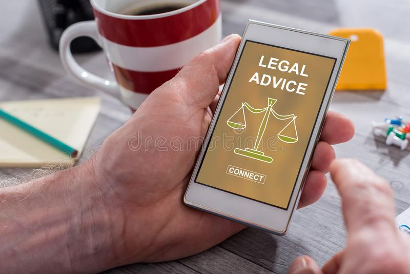 Legal advice concept on a smartphone stock images