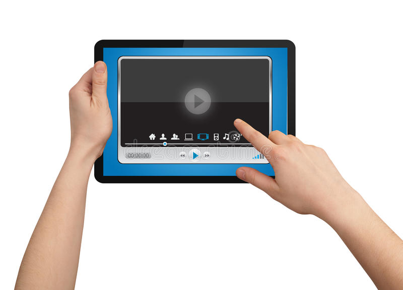 A male hand holding a touchpad media player. State of the art stock images