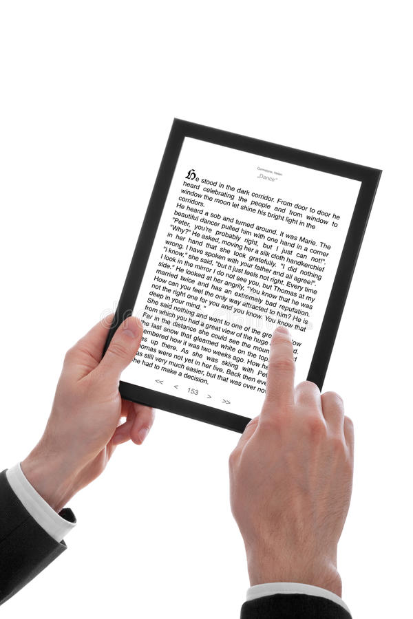 Male Hand Holding A Touchpad Pc Showing An E-Book Stock Photography