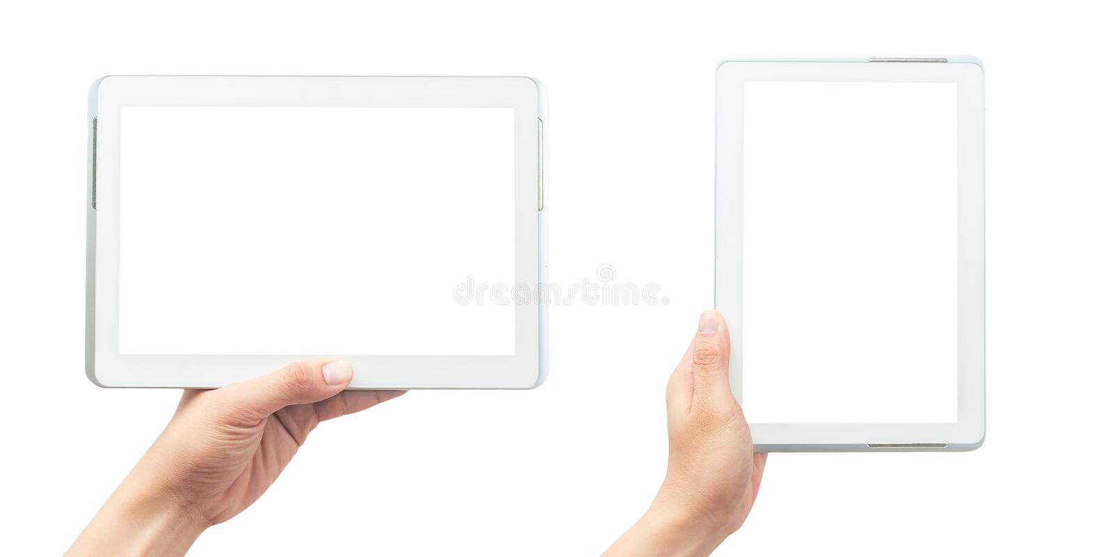 Male hand holding the white tablet pc computer with blank screen isolated on white background with clipping path. stock photos