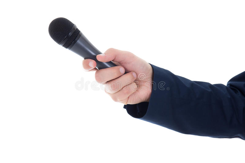 Male hand with microphone isolated on white stock images
