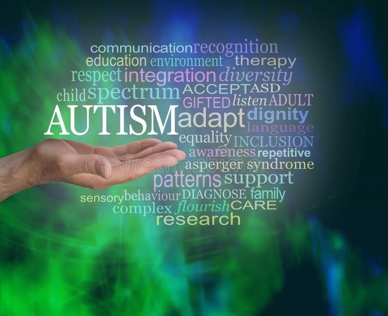 Masculine Autism Spectrum Word Tag Cloud. Male hand with open palm up with the word AUTISM floating above surrounded by a relevant word cloud on a modern royalty free stock photography