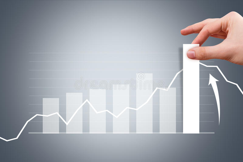 Male Hand Pulling Bar of Graph Chart royalty free stock photography