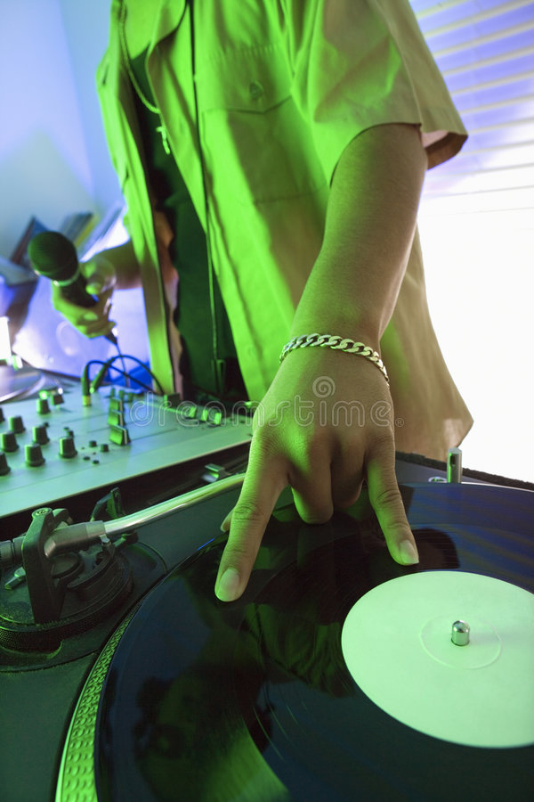 Download Male hand on record. stock photo. Image of equipment, young - 2037192