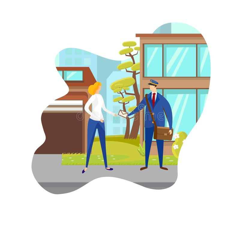 Male Handing Send Mail Envelope to Female Outside. Male Hand Send Mail Envelope to Female Outside on City Building Background. Express Delivery Service. Post vector illustration