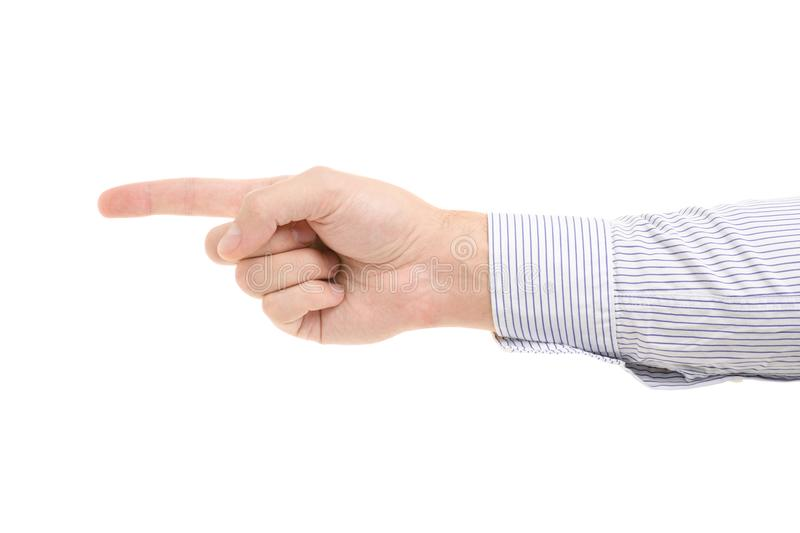 Male hand showing a finger to the side royalty free stock photography