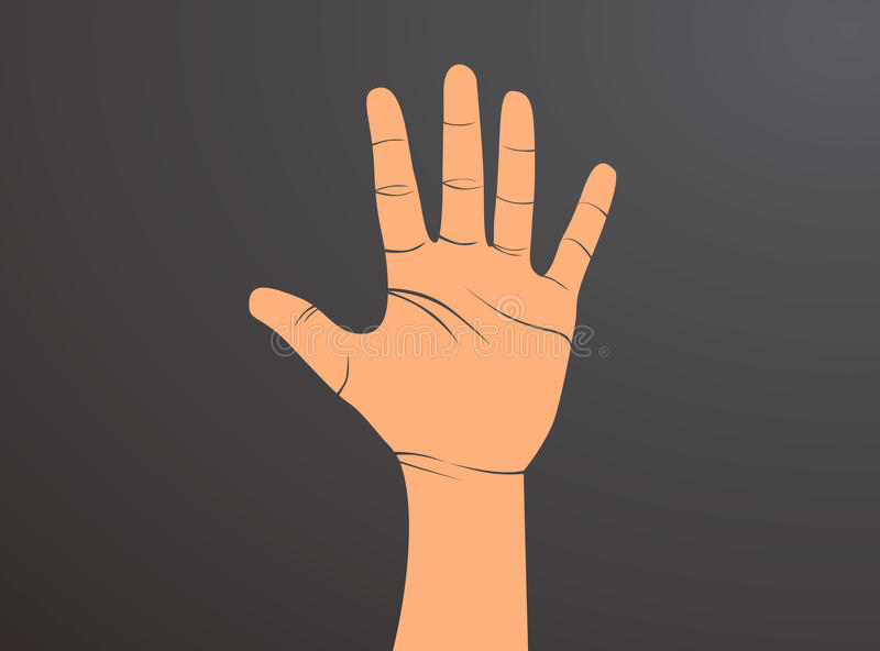 Male Hand Is Showing Five Fingers Symbol That Means Five Or Stop