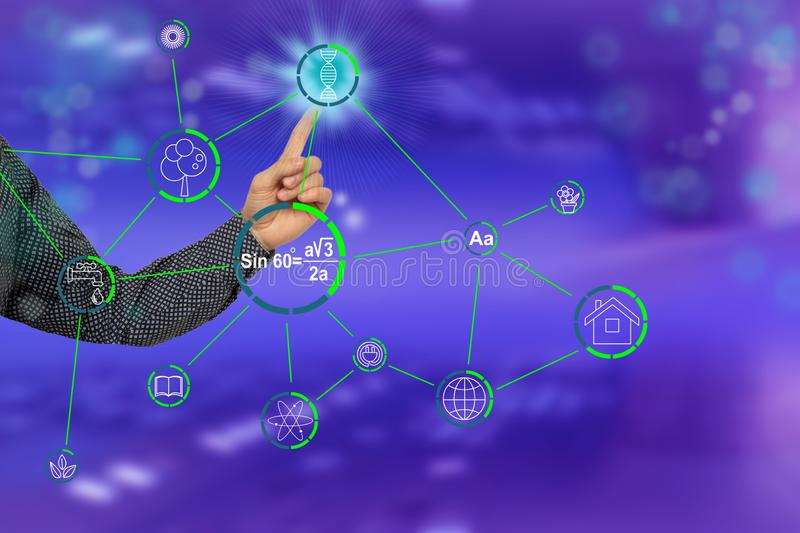 Male hand shows on a modern technological computer display dna formula icon, concept medicine, science, determination of paternity. Identity, close-up stock images