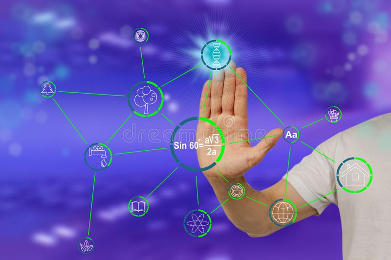 Male hand shows on a modern technological computer display dna formula icon, concept medicine, science, determination of paternity. Identity, close-up royalty free stock photos